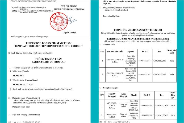 Aknicare Treatment Lotion 25ml được Bộ Y Tế chứng nhận
