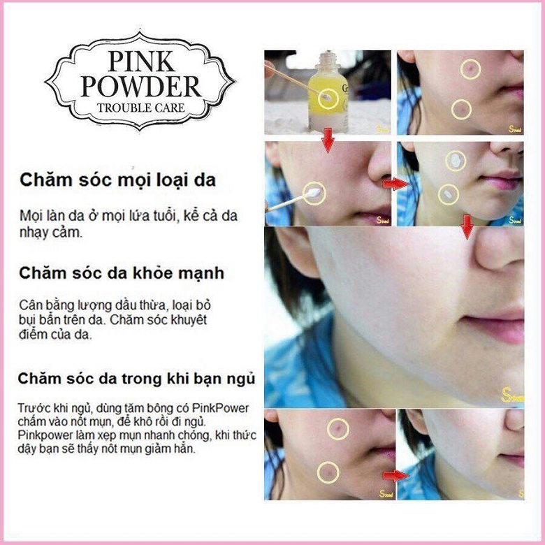 Cách sử dụng tinh dầu trị mụn Grinif Pink Powder hiệu quả