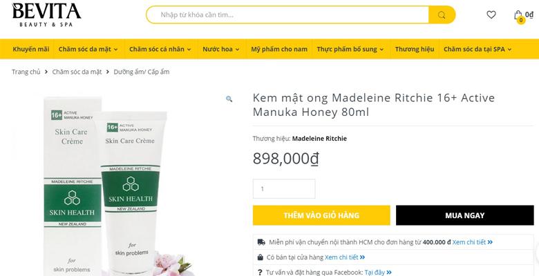 giá bán kem mật ong manuka 16+
