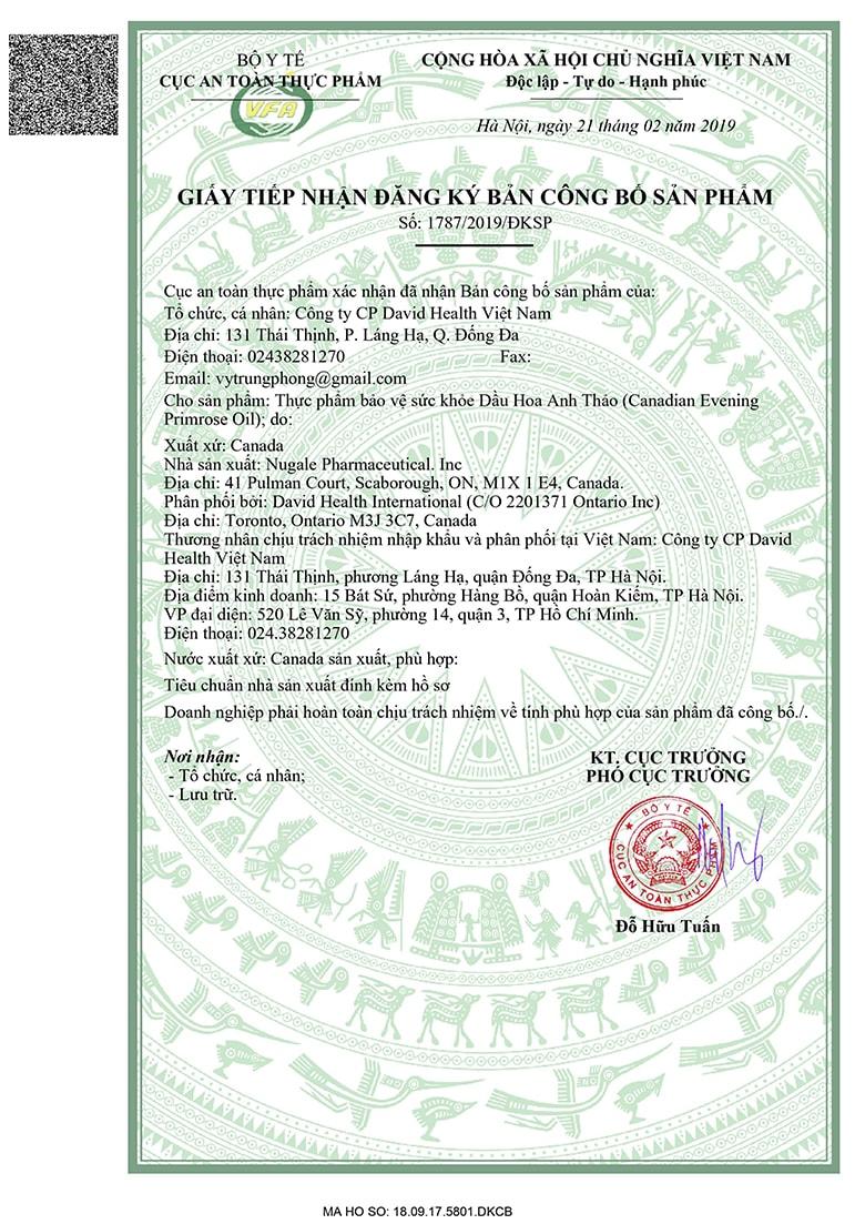 Viên uống David Health Evening Primrose được cấp phép lưu hành tại Việt Nam