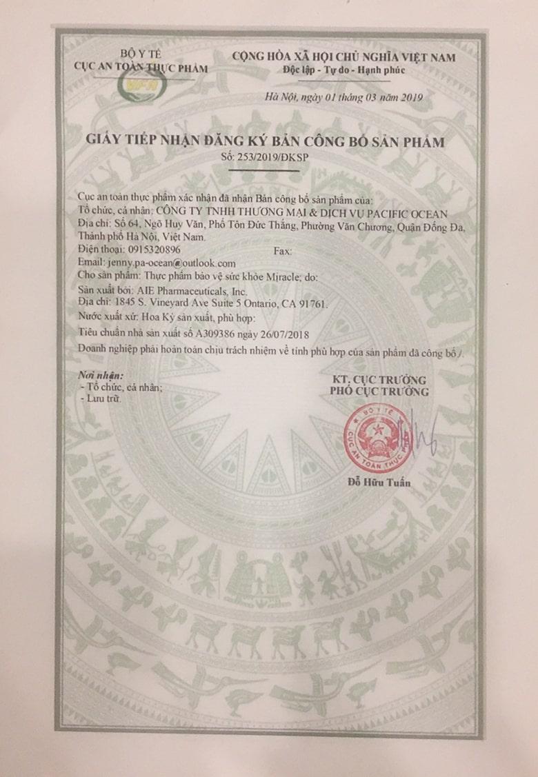 giấy chứng nhận Viên uống trắng da, chống nắng Miracle 60 viên