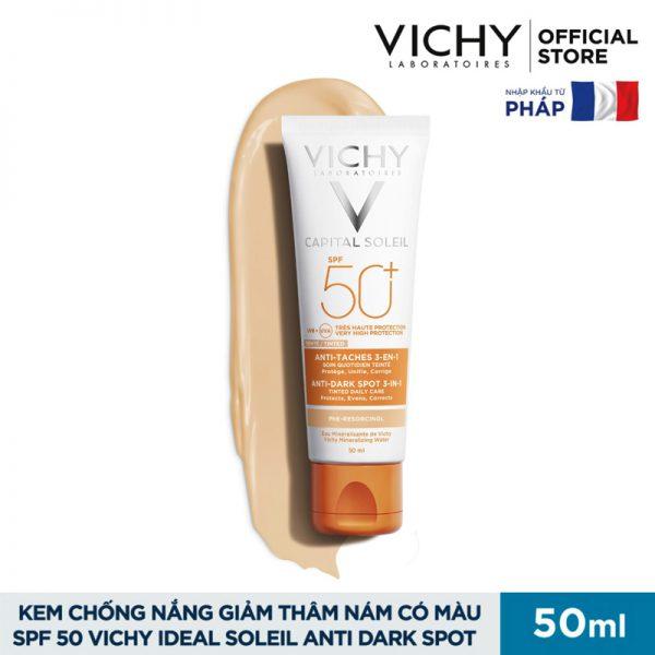 Kem chống nắng Vichy Capital Soleil Anti Dark Spot 3 in 1 Tinted SPF 50+ 50ml