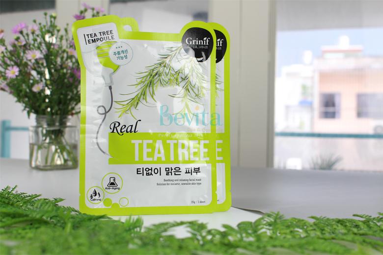 Công dụng mặt-nạ tràm trà trị mụn Grinif Real Tea Tree Mask 25g