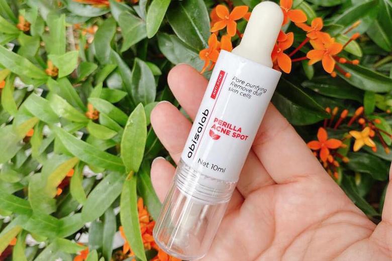 Tác dụng tinh chất giảm viêm, giảm mụn Abisalab Perilla Acne Spot 10ml