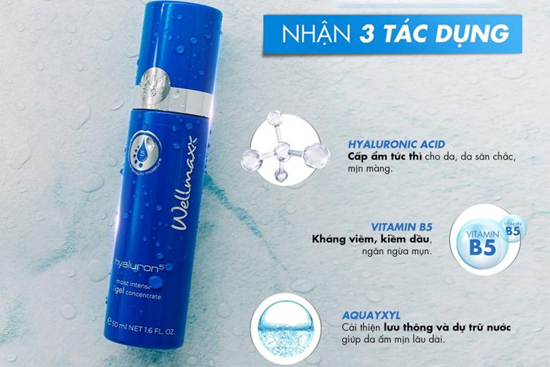 Công dụng gel dưỡng ẩm phục hồi Wellmaxx Hyaluron Moist Intense Gel Concentrate 50ml